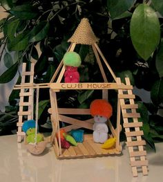 Lucky Troll  dolls in popsicle stick club house by wishwithme, $26.00