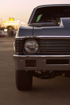 Old car, nicely lit. Retro.