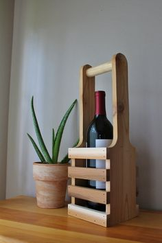 Rustic Wine Bottle Holder with Handle / Wine Caddy / Wine Tote / Unfinished Cedar on Etsy, $19.99