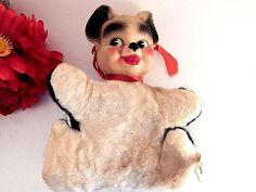 Panda Bear Rubber Face Plush Stuffed Animal Vintage 1950s Columbia Products Children's Toy Rare Collectible Baby Boomer Keepsake