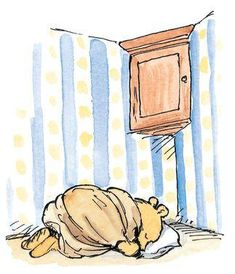 He took an old blanket and bedded down by his honey cupboard, to reassure the pots that they would be safe. Classic Winnie the Pooh Winnie The Pooh Nursery, Winne The Pooh, Winnie The Pooh Quotes, Winnie The Pooh Friends, Eeyore, Tigger, Illustrations, Illustration Art, Hundred Acre Woods