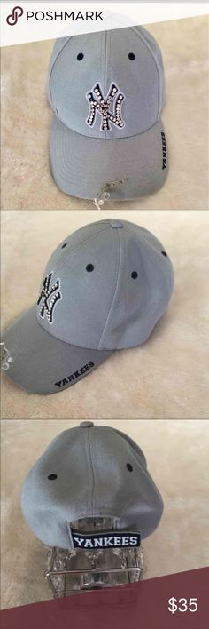Official Twins Bling Yankees Baseball Hat Cap Hat Official Twins Enterprise from Genuine Merchandise Adjustable Base Ball Hat   New York Yankees accented with Rhinestones twins Accessories Hats