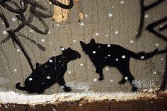 1 - 14 septembre  2009 Paris 17 rue du Renard Pochoir = Stencil Chats = Cats