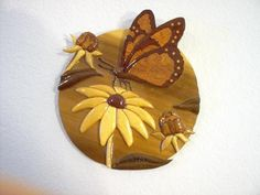 Intarsia Flowers and Butterfly