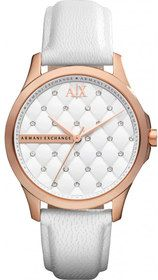 Armani Exchange Quartz Dial White with three hand movement Watch #AX5205 (Women Watch). Please Visit us at the following URL: http://www.bodying.com/armani-exchange-quartz-dial-ax5205/watches/73051
