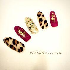 leopard painting bijou ネイル レオパード ビジュー♪ #nailbook