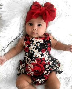 Magdalena Floral Ruffle Romper - PRE ORDER This vintage feel romper is perfect for your little fashionista. Cream, dark rose and hints of blue flower print stand out fantastically against a black background. This romper is accented with ruffles on the si Baby Outfits, Kids Outfits, Newborn Girl Outfits, Little Fashionista, Baby Girl Fashion, Kids Fashion, Fashion Clothes, Babies Fashion, Cheap Fashion