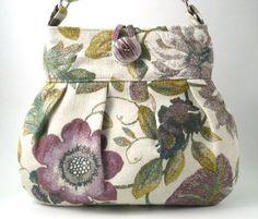 spring tote messenger bag  purple flower handbag by daphnenen. Love this fabric!