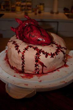 Halloween 2014 - Human heart on a cake of sewn flesh. Human Heart, Halloween 2014, Cakes, Desserts, Food, Tailgate Desserts, Deserts, Cake Makers, Kuchen