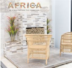 Add interest to your tiled outdoor area by using a décor tile around your fireplace. Build your room around this focal point with greenery and wicker furniture to create a warm inviting space. Show here is the Rettangolo cut décor. #outofafrica #africanstyle #home #homedecor #homegoals  #featurewall #fireplace #cladding #tiles Decor, Furniture, Outdoor Decor, Room, Outdoor Chairs, Wicker Furniture, Home Decor, Feature Wall, Trendy Home