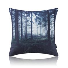 Modern Simple Misty Forest Blue Cotton Linen Pillow Sofa Pillow Office Pillow