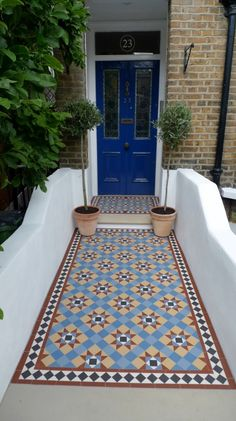victorian mosaic garden tile path yorkstone steps black heath greenwich london# … - All About Balcony Victorian Front Garden, Victorian Front Doors, Victorian Tiles, Victorian Terrace, Victorian Flooring, Hall Tiles, Tiled Hallway, Garden Tiles, Mosaic Garden