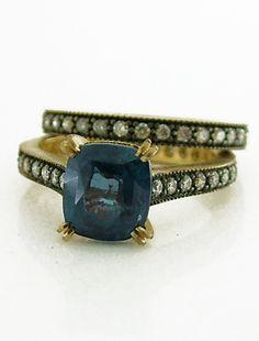 Unique Custom designed Alexandrite engagement ring set by ken + dana design