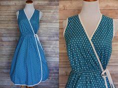 1970s Blue Cotton Dress  70s cotton dress  1970s cotton