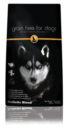 """Another pinner said, """"Holistic Blend Grain Free Dog food is a high protein, low carbohydrate turkey and salmon recipe that has all the good stuff and none of the bad."""""""