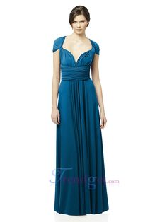 Exquisite Princess Floor-length Sweetheart Criss-cross Straps Ruffles Blue Chiffon Bridesmaid Dresses - $149.99 - Trendget.com