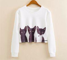 3 Kitten Cropped Sweatshirt