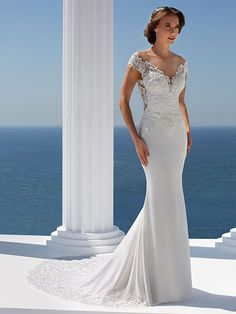 Wedding dress 7345 from the Mark Lesley 2019 bridal collection Art Deco Wedding Dress, Wedding Dresses Size 14, Perfect Wedding Dress, Size 14 Dresses, Designer Wedding Dresses, Wedding Gowns, Dream Wedding, Bridal Gown Styles, Bridal Dresses