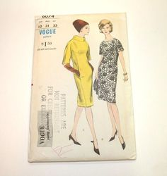 Uncut Vogue Pattern 6074 Size 10 Young Fashionables Vintage 1960s Misses Dress #Vogue #Sheath #VintageVogue