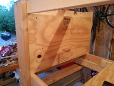 Seating the tortion box inside the frame of the bench.  Here is where taking the time to make everything perfectly square and plumb  pays off.  And it all begins with selecting good lumber.   All that was needed for this part to fit into place was a few passes with a block plane.
