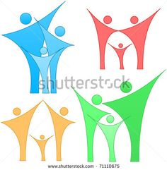 Set Of A Four Examples Of Family Or Team Silhouettes Stock Vector 71110675 : Shutterstock