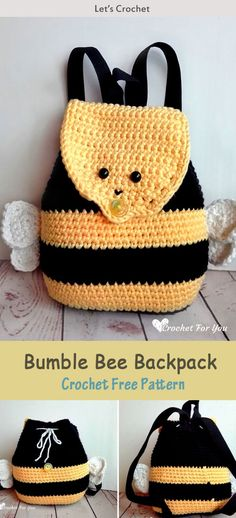 This Bumble Bee Backpack Crochet Free Pattern is a cute and fun little pattern that kids will love. Make one now with the free pattern provided by the link below. Crochet Bee, Crochet Gifts, Cute Crochet, Crochet For Kids, Crotchet, Crochet Handbags, Crochet Purses, Crochet Backpack Pattern, Crochet Bag Free Pattern