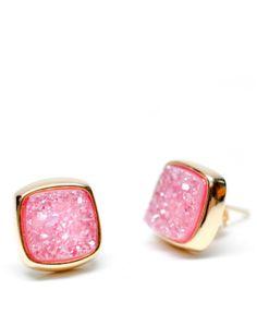 Pink Drusy Square Stud Earrings WWW.VEZOORA.COM