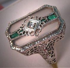 Antique Diamond Ring Vintage Art Deco Rock by AawsombleiJewelry