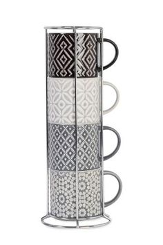 Buy Set Of 4 Grey Geo Stacking Mugs from the Next UK online shop