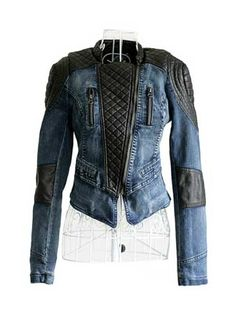 Ladies' Split Joint PU Slanting Zip Stand Collar Jacket Blue on DressLuck.com