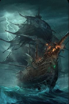 Fantasy Kunst, Dark Fantasy Art, Fantasy Artwork, Pirate Art, Pirate Life, Pirate Ships, Pirate Crafts, Pirate Ship Tattoos, Old Sailing Ships