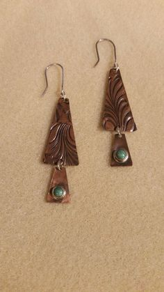 Textured Copper Earrings with Turquoise Drops by CatsCreationsLLC on Etsy