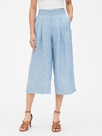 High Rise Wide-Leg Crop Pants in Pure Linen | Gap