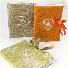 Asian Brocade Embroidered Initial Photo Albums @studioNotes