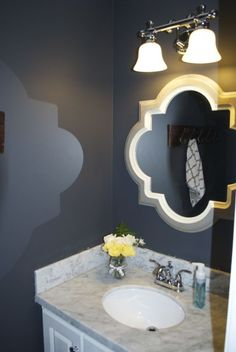 Great Mirror for a Powder Room! (Paint Color: Evening Haze)
