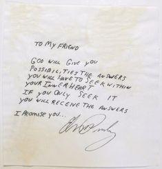 Handwritten Message by Elvis Presley - by The Auction at Graceland Elvis Presley Quotes, Elvis Quotes, Elvis And Priscilla, Lisa Marie Presley, Graceland, Letter Of Encouragement, Elvis Memorabilia, Friendly Letter, Rock And Roll
