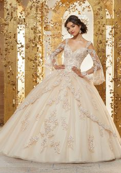 Vizcaya by mori lee 89228 quinceanera dress Mori Lee Quinceanera Dress Colors: Champagne/Nude. Mori Lee Quinceanera Dresses, Champagne Quinceanera Dresses, Wedding Dresses, Royal Wedding Gowns, Sweet 15 Dresses, Pretty Dresses, Beautiful Dresses, Tulle Ball Gown, Ball Gown Dresses