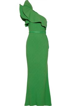 Lanvin One-shoulder ruffled crepe gown | NET-A-PORTER