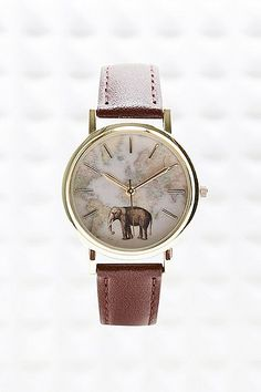 Elephant Map Leather Watch Montre éléphant Femme 2016 #montrestendance2016 #montresfantaisies #bijouxcreateur #elephant
