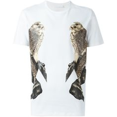 Neil Barrett bird print T-shirt (380 BRL) ❤ liked on Polyvore featuring men's fashion, men's clothing, men's shirts, men's t-shirts, white, men's bird print shirt, mens white short sleeve shirt, mens short sleeve cotton shirts, mens short sleeve shirts and mens cotton shirts