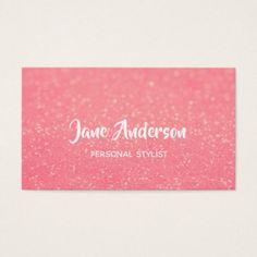 Blush pink glitter business card - glitter glamour brilliance sparkle design idea diy elegant