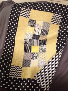 Modern Baby Quilt baby girl quilt yellow grey black white