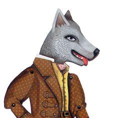 Big Bad Wolf Jointed Articulated Paper Doll DIY Craft Original Folk Art