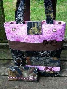 camo purse with pink bow | Mossy Oak Camo and Pink John Deere Purse Wallet 3 pc by purse4you #camowallets