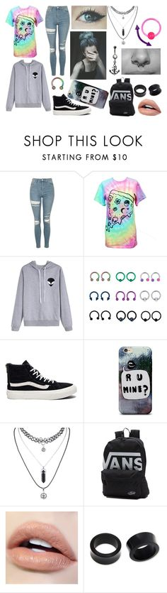 """Tye-Dye Punk/Emo/Scene Outfit"" by abipatterson ❤ liked on Polyvore featuring Topshop, Vans, Ultimate and NOVICA"