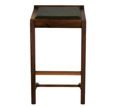 Hangover / Counter stool  FSC-certified American walnut  Semi-aniline leather seat / Dimensions in inches W18 D17 H28.5