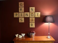 Scrabble wall tiles - love it.