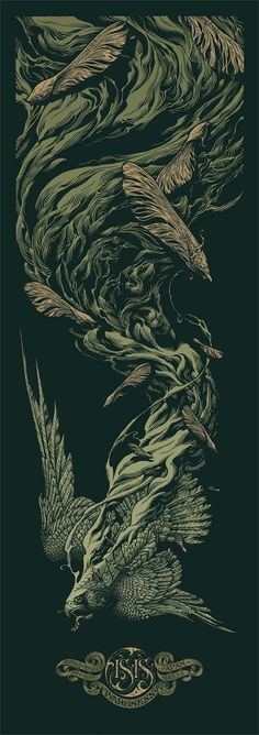 AARON HORKEY green Isis Baroness Australia New Zealand Japan Pacific Tour Poster 2010 signed and numbered art print buy purchase Tour Posters, Band Posters, Retro Posters, Music Posters, Kunst Poster, Inspiration Art, Art Graphique, Concert Posters, Gig Poster