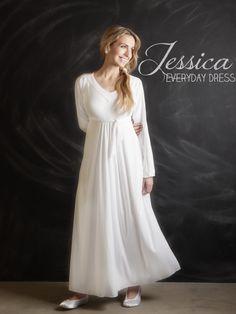 Jessica Everday LDS temple dress. www.theperfectwhitedress.com  88.00