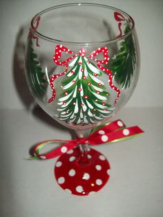 Christmas Tree wine glass
